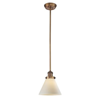 Glass Cone 1-Light Pendant Shade Color: Matte White Cased, Size: 10 W x 8 D, Finish: Brushed Brass