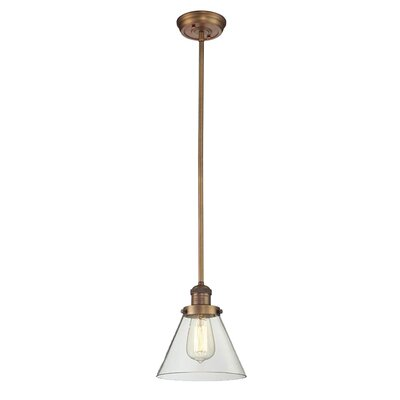 Glass Cone 1-Light Pendant Shade Color: Smoked, Size: 8.25 W x 6.25 D, Finish: Brushed Brass