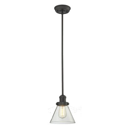 Glass Cone 1-Light Pendant Finish: Oiled Rubbed Bronze, Size: 10 W x 8 D, Shade Color: Clear