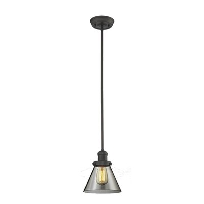 Glass Cone 1-Light Pendant Finish: Oiled Rubbed Bronze, Size: 10 W x 8 D, Shade Color: Smoked