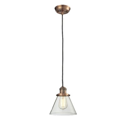 Glass Cone 1-Light Pendant Size: 8.25 H x 6.25 W, Shade Color: Smoked, Finish: Antique Copper