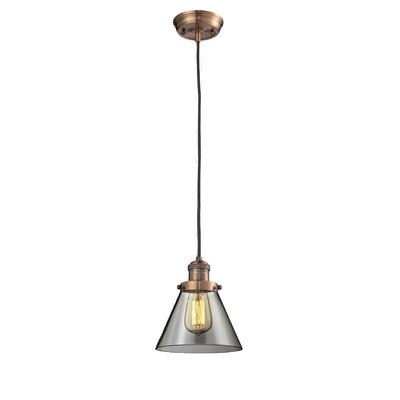 Glass Cone 1-Light Pendant Shade Color: Smoked, Size: 10 H x 8 W, Finish: Antique Copper