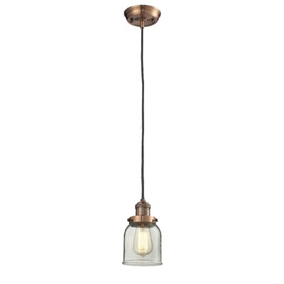 Glass Bell 1-Light Mini Pendant Size: 10 H x 8 W, Finish: Black/Brushed Brass, Shade Color: Smoked