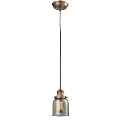 Glass Bell 1-Light Mini Pendant Finish: Antique Copper, Shade Color: Smoked, Size: 10 H x 6 W