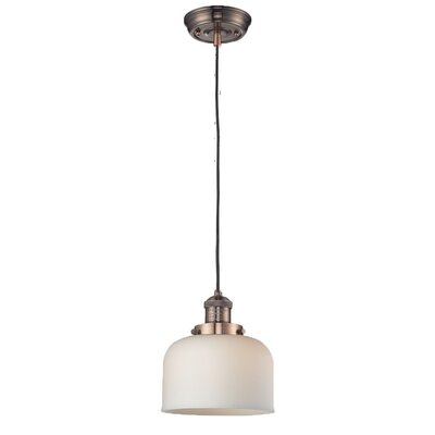Glass Bell 1-Light Mini Pendant Finish: Antique Copper, Size: 10 H x 8 W, Shade Color: Matte White Cased