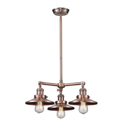 Railroad 3-Light Pool Table Light Finish: Black/Brushed Brass