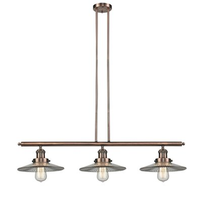 Holophone Glass 3-Light Kitchen Island Pendant Finish: Antique Copper