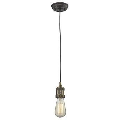 Bare Bulb 1-Light Mini Pendant Finish: Black/Brushed Brass