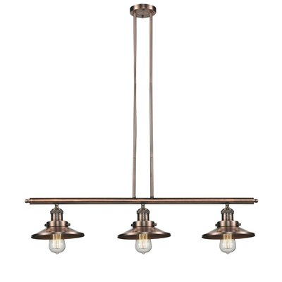 Railroad Shade 3-Light Kitchen Island Pendant Finish: Antique Copper