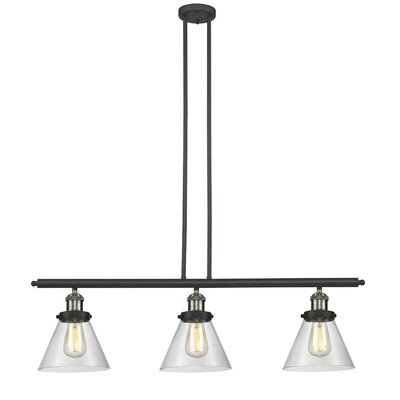 Glass Cone 3-Light Kitchen Island Pendant Size: 36 H x 36 W x 8 D, Shade Color: Clear, Finish: Black/Brushed Brass