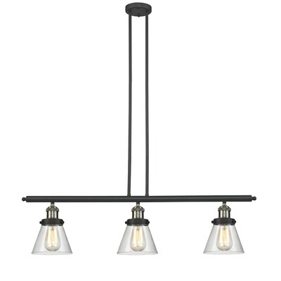 Glass Cone 3-Light Kitchen Island Pendant Size: 36 H x 36 W x 5 D, Shade Color: Clear, Finish: Black/Brushed Brass