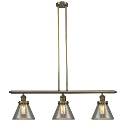 Glass Cone 3-Light Kitchen Island Pendant Shade Color: Smoked, Size: 36 H x 36 W x 8 D, Finish: Brushed Brass