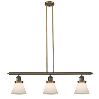 Glass Cone 3-Light Kitchen Island Pendant Shade Color: Matte White Cased, Size: 36 H x 36 W x 5 D, Finish: Brushed Brass