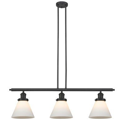Glass Cone 3-Light Kitchen Island Pendant Finish: Oiled Rubbed Bronze, Size: 36 H x 36 W x 8 D, Shade Color: Matte White Cased
