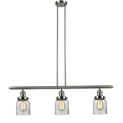 Glass Bell 3-Light Island Pendant Shade Color: Clear, Finish: Polished Nickel