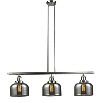 Glass Bell 3-Light Island Pendant Shade Color: Smoked, Finish: Polished Nickel