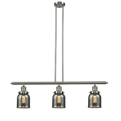 Glass Bell 3-Light Island Pendant Shade Color: Smoked, Finish: Satin Nickel