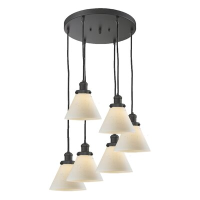 Glass Cone 6-Light Pendant Finish: Black Brushed Brass, Shade Color: Matte White Cased, Size: 13 W x 13 D