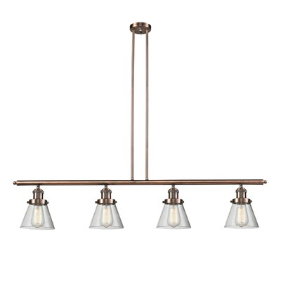 Glass Cone 4-Light Kitchen Island Pendant Finish: Antique Copper, Size: 48 W x 8 D, Shade Color: Clear