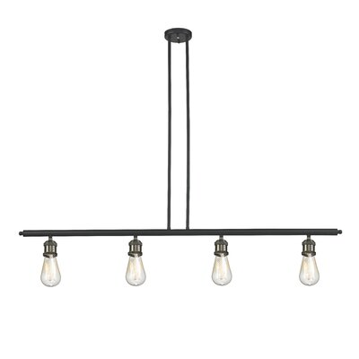 Bare Bulb 4-Light Kitchen Island Pendant Finish: Black Brushed Brass