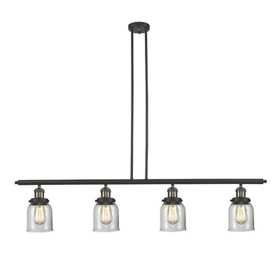 Glass Bell 4-Light Kitchen Island Pendant Size: 48 W x 5 D, Shade Color: Clear, Finish: Black/Brushed Brass
