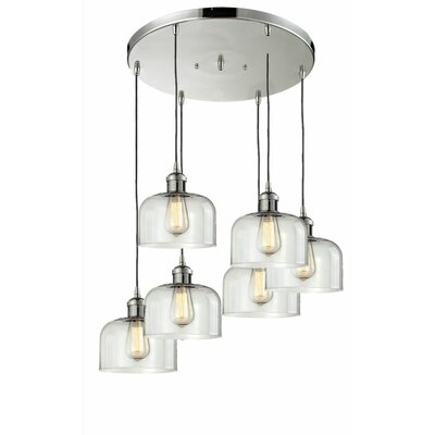 Large Bell 6-Light Cluster Pendant Finish: Black Brushed Brass, Shade Color: Clear