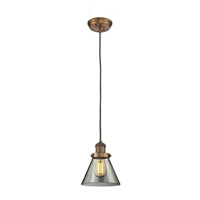 Glass Cone 1-Light Pendant Size: 8.25 H x 6.25 W, Shade Color: Smoked, Finish: Brushed Brass