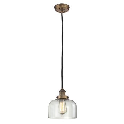 Glass Bell 1-Light Mini Pendant Shade Color: Clear, Size: 10 H x 8 W, Finish: Brushed Brass