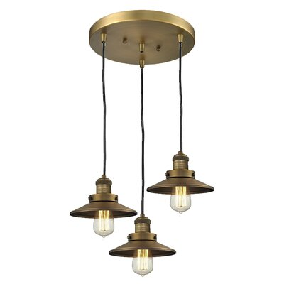 Railroad 3-Light Cluster Pendant Finish: Brushed Brass