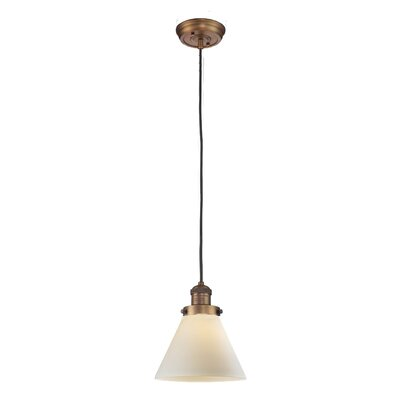 Glass Cone 1-Light Pendant Shade Color: Matte White Cased, Finish: Brushed Brass, Size: 10 H x 8 W