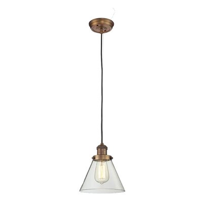 Glass Cone 1-Light Pendant Shade Color: Clear, Finish: Brushed Brass, Size: 10 H x 8 W