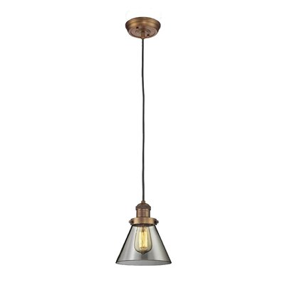 Glass Cone 1-Light Pendant Shade Color: Smoked, Finish: Brushed Brass, Size: 10 H x 8 W