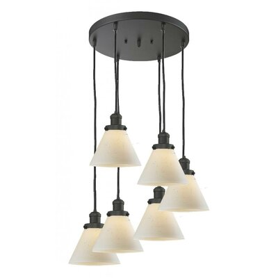 Glass Cone 6-Light Pendant Shade Color: Matte White Cased, Finish: Black/Brushed Brass, Size: 13 W x 13 D