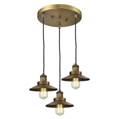 Railroad Shade 3-Light Pendant Finish: Oiled Rubbed Bronze