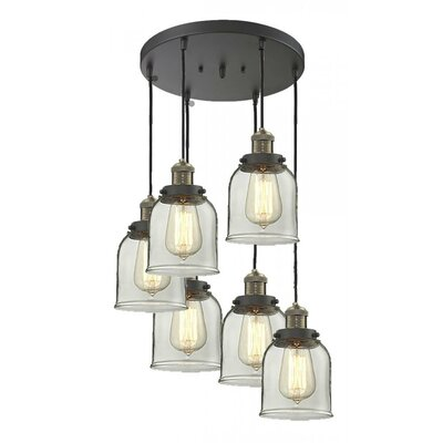 Glass Bell 6-Light Pendant Shade Color: Smoked, Finish: Black/Brushed Brass