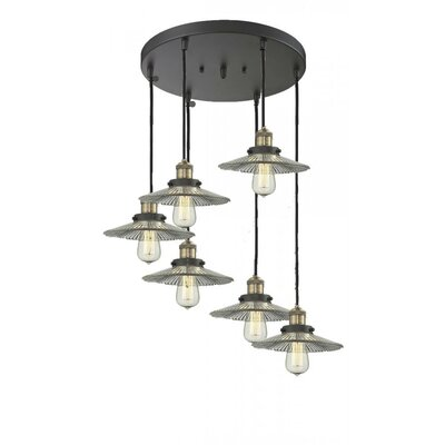 Holophane Glass 6-Light Pendant Finish: Black/Brushed Brass