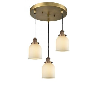 Glass Bell 3-Light Pendant Size: 13 x 13, Shade Color: Clear, Finish: Black/Brushed Brass