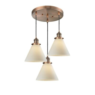 Glass Cone 3-Light Pendant Shade Color: Matte White Cased, Size: 135 H x 13 W x 13 D, Finish: Brushed Brass