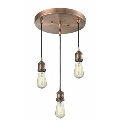 Bare Bulb 3-Light Pendant Finish: Antique Copper