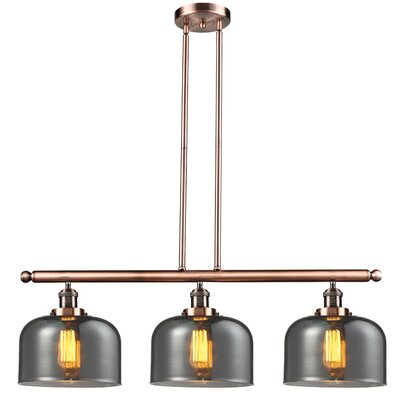 Glass Bell 3-Light Island Pendant Shade Color: Smoked, Finish: Antique Copper
