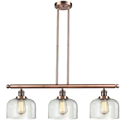 Peristeronari Glass Bell 3-Light Island Pendant Finish: Antique Copper, Shade Color: Clear