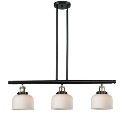 Beringer 3-Light Kitchen Island Pendant Color: Black Brushed Brass, Shade Color: Matte White Cased