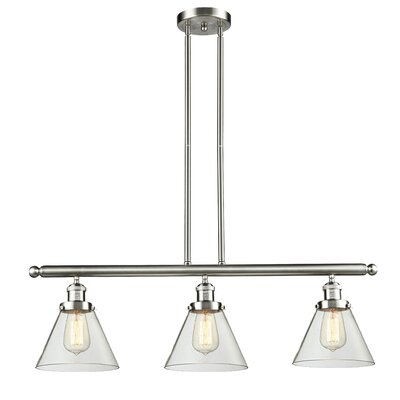 Glass Cone 3-Light Kitchen Island Pendant Finish: Brushed Satin Nickel, Shade Color: Clear, Size: 36 H x 36 W x 8 D