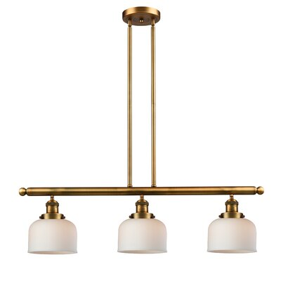 Beringer 3-Light Kitchen Island Pendant Color: Brushed Brass, Shade Color: Matte White Cased