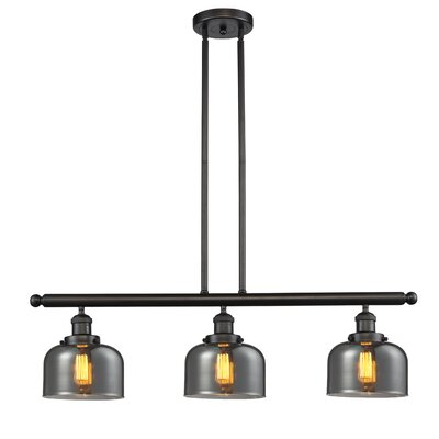 Glass Bell 3-Light Island Pendant Finish: Oiled Rubbed Bronze, Shade Color: Smoked
