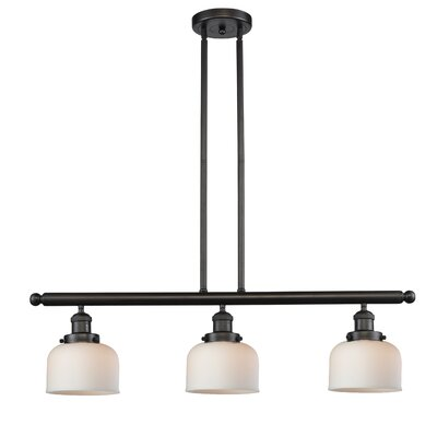 Glass Bell 3-Light Island Pendant Finish: Oiled Rubbed Bronze, Shade Color: Matte White Cased