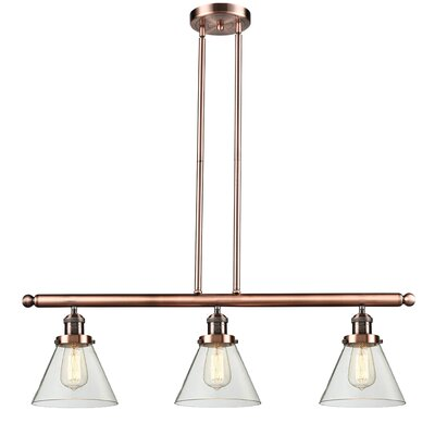 Glass Cone 3-Light Kitchen Island Pendant Finish: Antique Copper, Shade Color: Clear, Size: 36 H x 36 W x 8 D