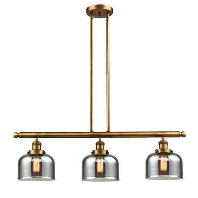 Beringer 3-Light Kitchen Island Pendant Color: Brushed Brass, Shade Color: Smoked