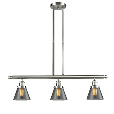 Glass Cone 3-Light Kitchen Island Pendant Finish: Satin Nickel, Shade Color: Smoked, Size: 36 H x 36 W x 5 D