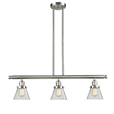 Glass Cone 3-Light Kitchen Island Pendant Finish: Brushed Satin Nickel, Shade Color: Clear, Size: 36 H x 36 W x 5 D